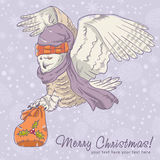 Christmas card of an owl in a hat Stock Image