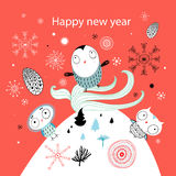 Christmas card with owls Stock Images