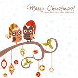 Christmas card of owls in hats Royalty Free Stock Photos