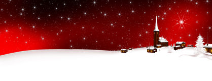 Christmas Card - Panoramic Snowy Mountain Village Banner. Panoramic Snowy Mountain Village Banner with Starry Red Background. Winter Landscape Backdrop with royalty free illustration