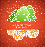 Christmas card with paper elements Stock Image