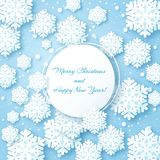 Christmas card with paper snow flake. Origami Christmas Greetings card. Winter snowflakes background and circle frame. Happy New Year Royalty Free Stock Image