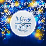 Christmas card. Paper snowflakes on blue royalty free stock photo