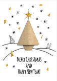 Christmas card with paper tree. 3d illustration Royalty Free Stock Photography