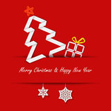 Christmas card with a paper tree on a red background. Eps 10 Royalty Free Stock Image