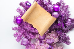 Christmas card parchment over fir tree Stock Photography