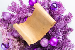 Christmas card parchment over fir tree Stock Image