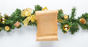 Christmas card parchment over fir tree Stock Photo