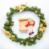 Christmas card parchment over fir tree Royalty Free Stock Photo