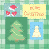 Christmas card with patchwork tree Royalty Free Stock Photography