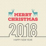 Christmas card with pattern and reindeer. For web design and application interface, also useful for infographics. Vector illustration Royalty Free Stock Photo