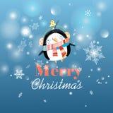 Christmas card with a penguin Stock Photos
