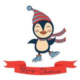 Christmas card with penguin Royalty Free Stock Image