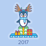 Christmas card with a penguin and gifts. 2017 Stock Photo