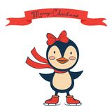 Christmas card with penguin girl Royalty Free Stock Photos