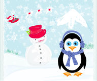 Christmas card with a penguin,santa claus and snowman Stock Images