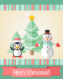 Christmas card with penguin and snowman and fir tree Stock Images