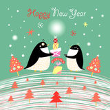 Christmas card with the penguins Royalty Free Stock Photos