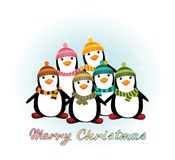 Christmas card with penguins Stock Images