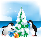 Christmas card with penguins Stock Photos
