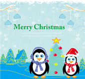 Christmas card with penguins. Illustration Stock Photo