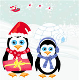 Christmas card with a penguins and santa Stock Photography