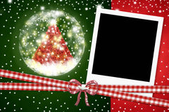 Christmas card, photo instant frame Royalty Free Stock Photos