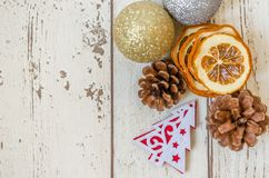 Christmas card. Photography Christmas background and dried oranges decoration Royalty Free Stock Photo