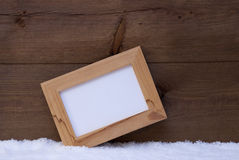 Christmas Card With Picture Frame And Copy Space, Snow Stock Photo
