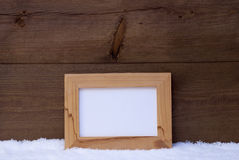 Christmas Card With Picture Frame, Copy Space, Snow Stock Image