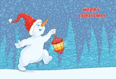 Christmas card with a picture of a running snowman with a flashlight. vector illustration