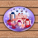 Christmas card with picture on wooden wall Royalty Free Stock Photo