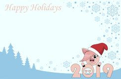 Christmas card with pig vector illustration