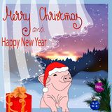 Vector illustration happy New year! Christmas card. The pig is a symbol of the Chinese New 2019. For postcards, sales vector illustration