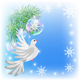 Christmas card with pigeon Royalty Free Stock Images