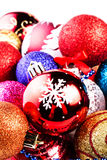 Christmas card with pile of Christmas balls and  decorations. Fe Royalty Free Stock Photos
