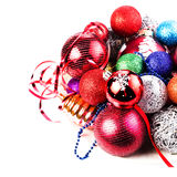 Christmas card with pile of Christmas balls and  decorations. Fe Royalty Free Stock Image