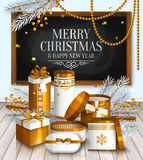 Christmas card. Pile of white and golden wrapped gift boxes. Stock Images