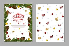 Christmas card with pine cones, christmas ball and bows. stock images