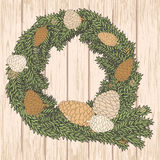 Christmas card with pine cones wreath on wooden background. Vect. Winter background with pine cones wreath. Hand drawing with chalk on wooden background. Sketch Stock Image