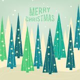 Pine forest Christmas card royalty free illustration