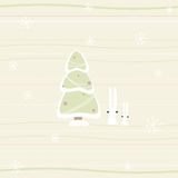 Christmas card with pine and rabbits Royalty Free Stock Photos