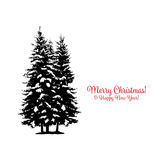 Christmas card with pine tree for your design royalty free illustration