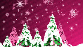 Christmas card with pine trees. For your pink greeting Stock Images