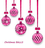 Christmas Card with Pink Glassy Balls with Bow Ribbon Stock Photography