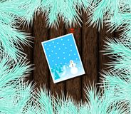 Christmas Card Pinned on Wood with Frosty Fir royalty free illustration