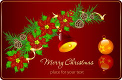 Christmas card with poinsettia and decorations. Vector composition with Christmas decorations Royalty Free Stock Images