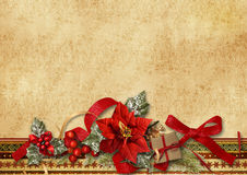 Christmas card with poinsettia and holly for congr Royalty Free Stock Photo