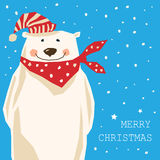 Christmas card with polar bear Stock Photos