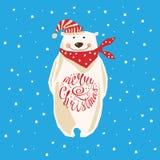 Christmas card with polar bear Royalty Free Stock Photos